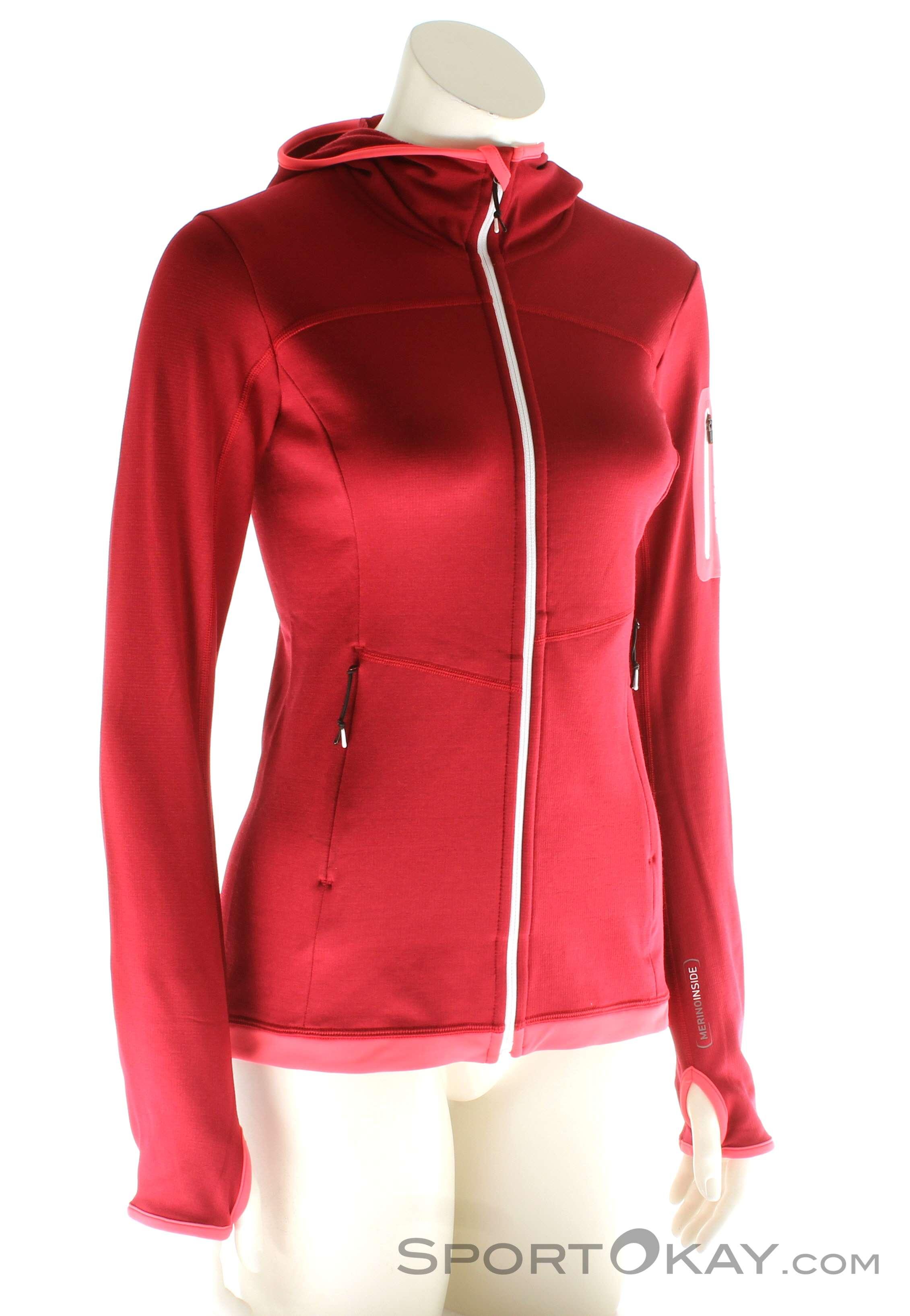 Ortovox Fleece Light Hoody Damen Tourensweater, Ortovox, Rot, , Damen, 0016-10578, 5637562045, 4250875282919, N1-01.jpg