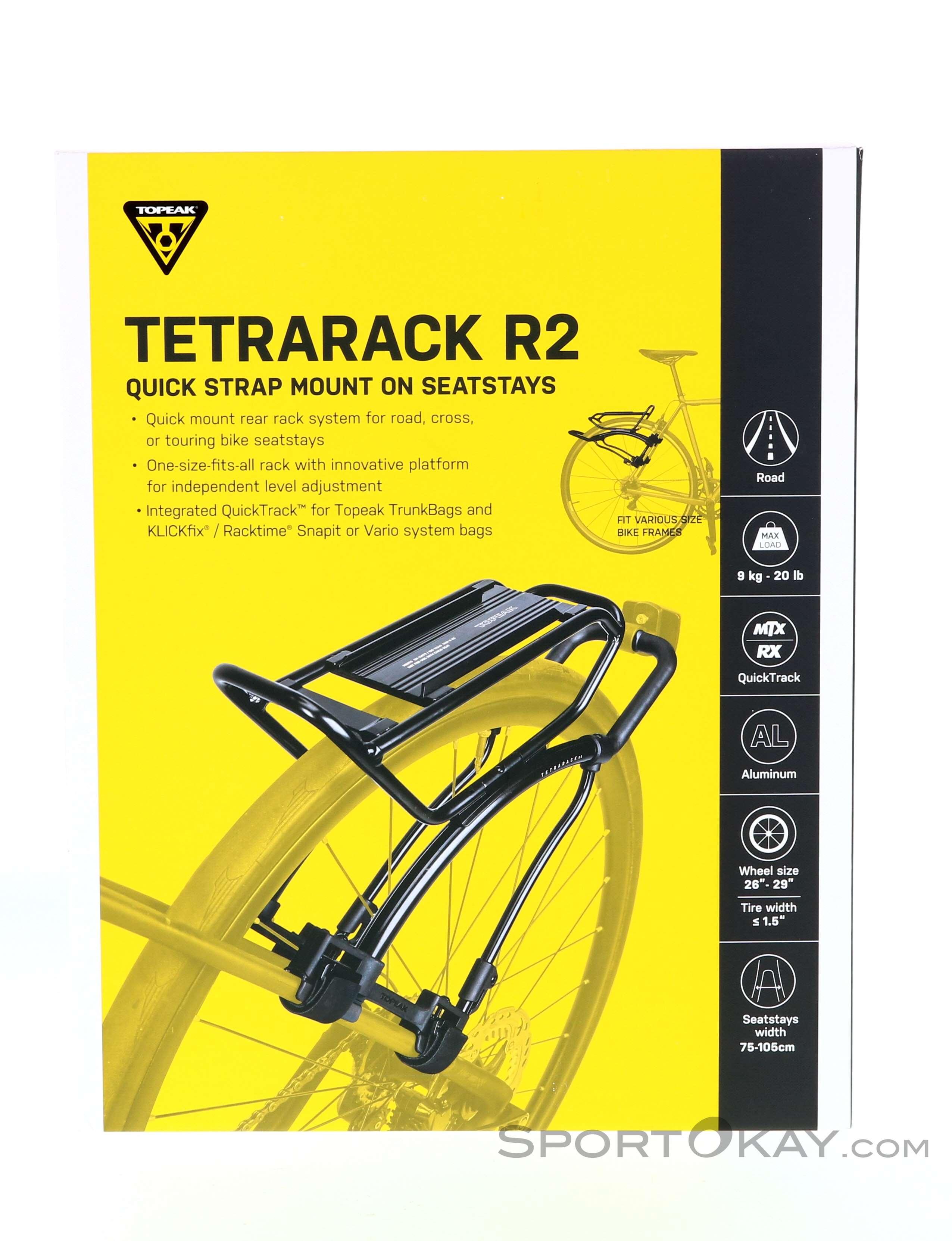 Black OneSize Topeak Unisexs Tetrarack R2 Rack