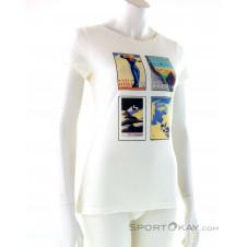 Super Natural Digital Print Tee Alpine Collage Damen T-Shirt-Weiss-S
