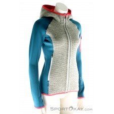 Ortovox Fleece Plus Classic Knit Hoody Damen Tourensweater-Blau-S