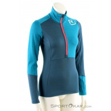 Ortovox Fleece Light Zip Neck HZ Damen Tourensweater-Blau-S