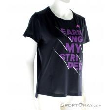 adidas Earning Stripes Damen Fitnessshirt-Schwarz-XS