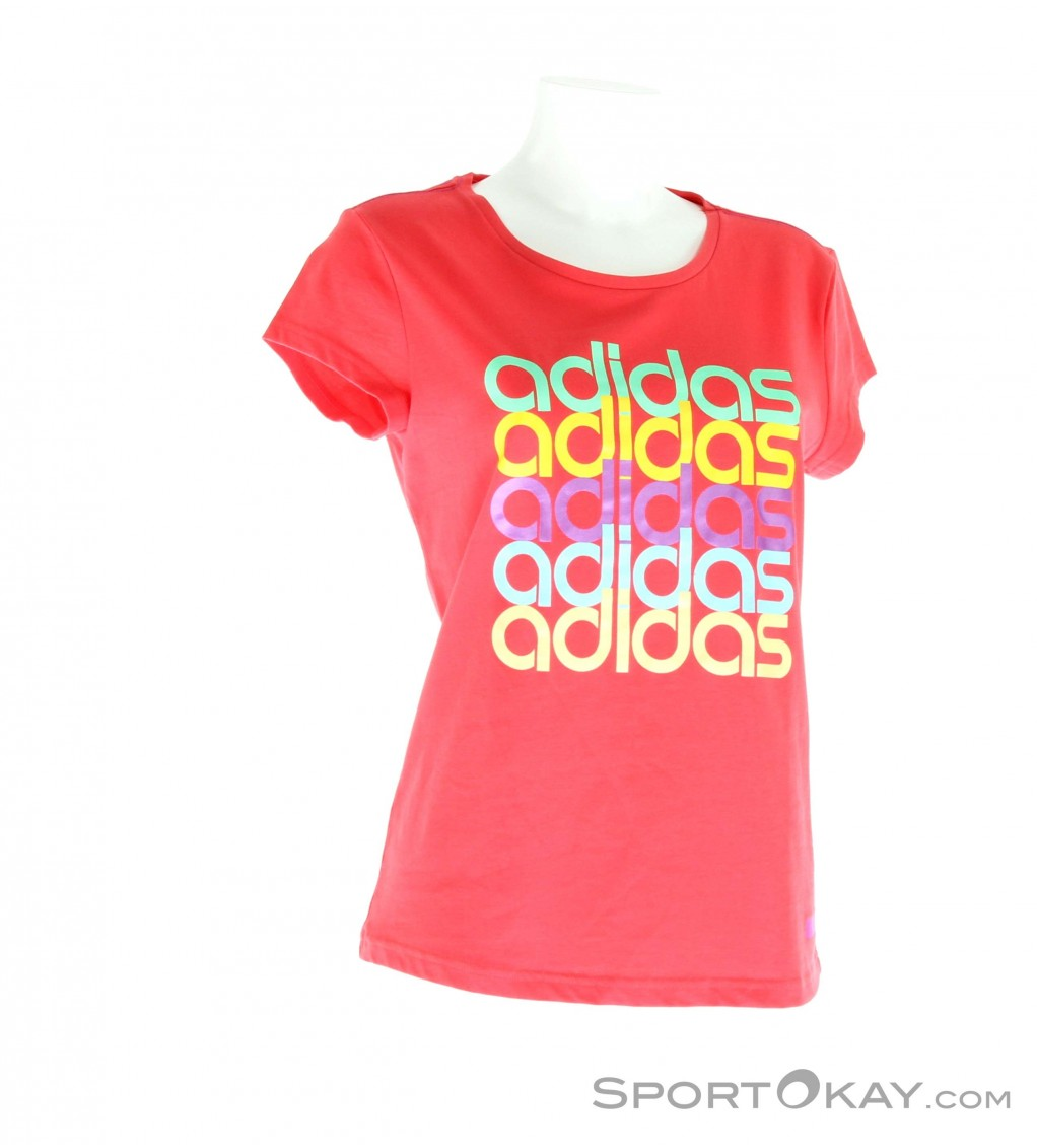 adidas coloured linear tee damen trainingsshirt kurz. Black Bedroom Furniture Sets. Home Design Ideas